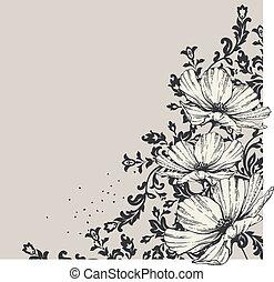 floreale, fondo, flo, azzurramento