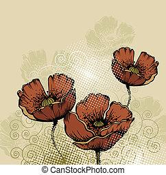 floreale, fondo, pop, azzurramento