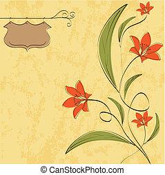 floreale, fondo, romantico