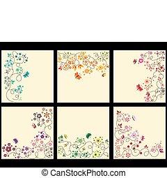 floreale, fondo, set