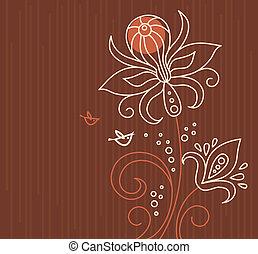 floreale, fondo, uccelli