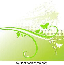 floreale, fondo., verde