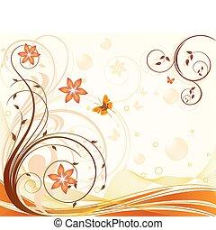 floreale, fondo, vettore