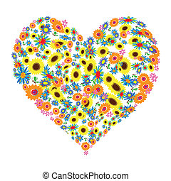 floreale, forma cuore, disegno
