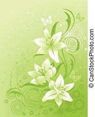 floreale, giglio, vettore, fondo