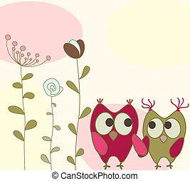 floreale, gufi, cartolina auguri