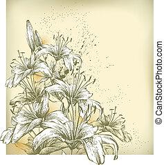 floreale, lil, fondo, azzurramento