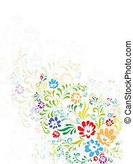 floreale, luminoso, illustrazione, variopinto