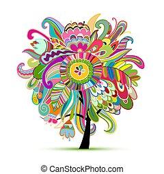 floreale, magia, albero, schizzo, per, tuo, disegno