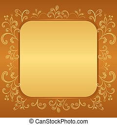 floreale, marrone, astratto, cornice