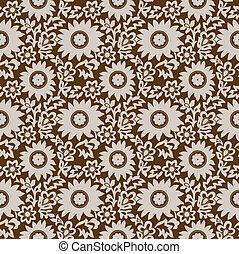 floreale, marrone, carta da parati, seamless
