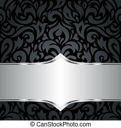 floreale, nero, &, argento, carta da parati