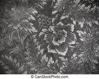 floreale, nero, bianco, metallo, fondo