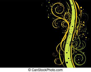 floreale, nero, grunge, fondo