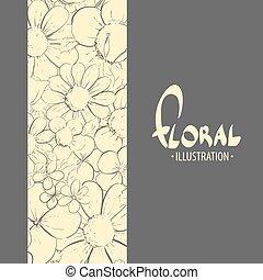 floreale, nero, illustrazione, fondo