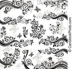 floreale, nero, profili di fodera