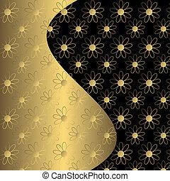 floreale, nero, sfondo dorato