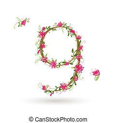 floreale, nove, disegno, numero, tuo