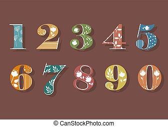 floreale, numeri, set, colorito