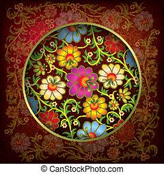 floreale, ornamento, astratto, grunge, fondo