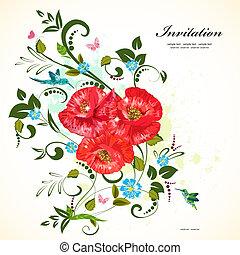 floreale, ornamento, papaveri