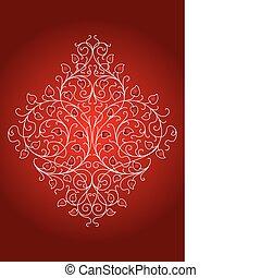 floreale, ornamento, retro, (vector)