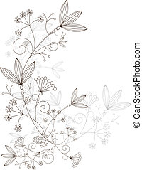 floreale, ornamento, vettore, disegno