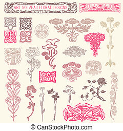 floreale, ornaments., set, vendemmia