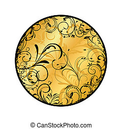 floreale, oro, medaglione