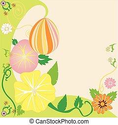 floreale, pasqua, 2, uovo, fondo
