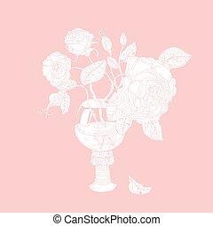 floreale, pastello, vettore