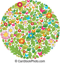 floreale, primavera, cerchio, estate