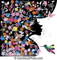 floreale, ragazza, grunge, uccello, acconciatura