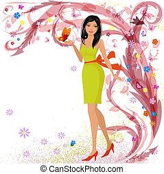 floreale, ragazza, progetto moda, tuo