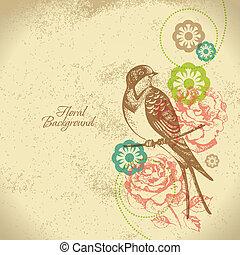 floreale, retro, fondo, uccello
