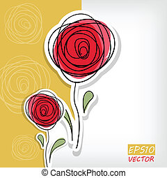 floreale, rose, astratto, fondo