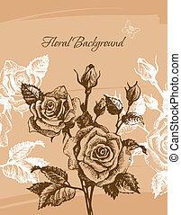 floreale, rose, fondo