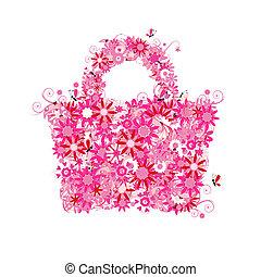 floreale, sacchetto spesa, estate, sale., vedere, anche,...