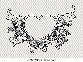 floreale, scarabocchiare, cornice, heart., forma