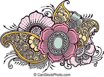 floreale, scarabocchiare, fiori