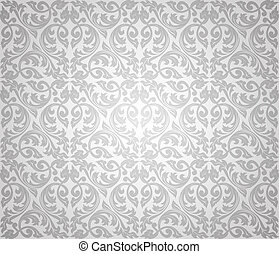 floreale, seamless, fondo, argento