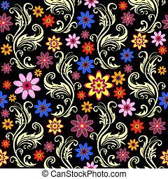 floreale, seamless, sfondo nero