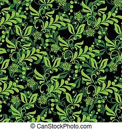 floreale, seamless, verde, illustrazione