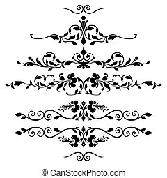 floreale, set, ornamenti