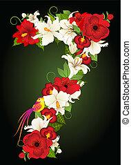 floreale, sette, simbolo, illustrazione