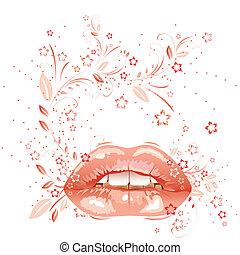 floreale, sexy, labbra, pattern., eps