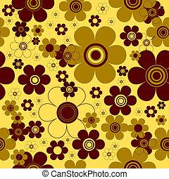 floreale, sfondo giallo, (vector), seamless