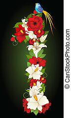 floreale, simbolo, illustrazione, uno