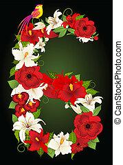floreale, simbolo, sei, illustrazione