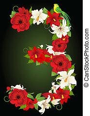 floreale, simbolo, tre, illustrazione
